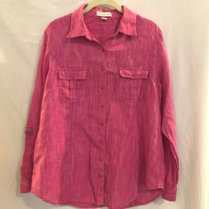 Coldwater Creek Blouse Button Up Marled Rose Linen